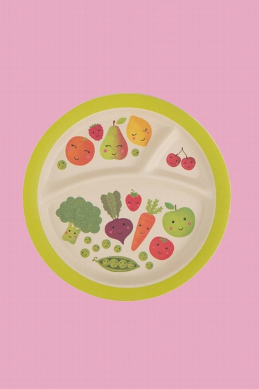 A compartmented plate to put each food in its place and