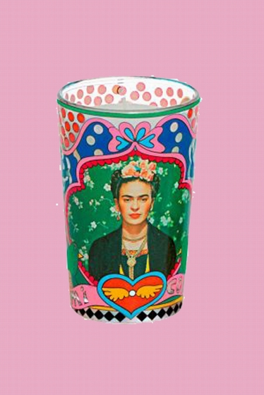 Nice glass candleholder with Frida Kahlo, the saint patron