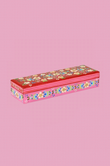 Pretty little wood box, delicately painted flowers patterns.