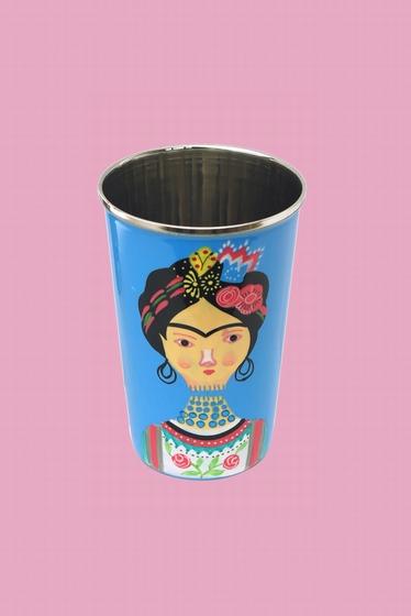 Grand verre en inox alimentaire délicatement peint à la main