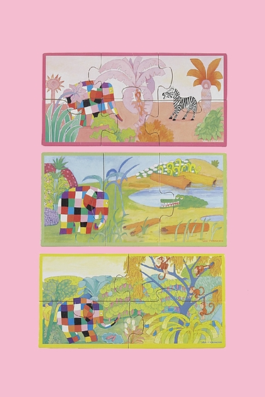 ELMER THE ELEFANT BOX WITH 3 PUZZLES : 3, 4 and 6 pieces.