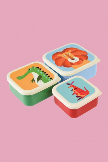 Set of 3 square nesting snack boxes each. Pot size's largest