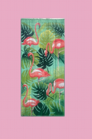 Bamboo curtain - Flamant rose decoration ...
