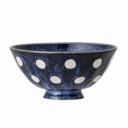Craquez pour ce magnifique bol en porcelaine bleue à pois