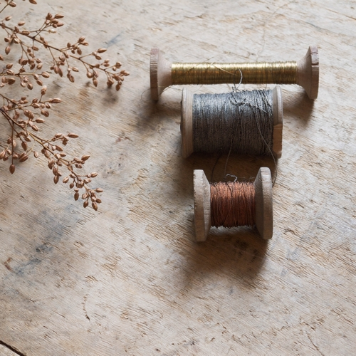Lot de 3 bobines vintage: 1 bobine de fil d'or: 11cm hauteur