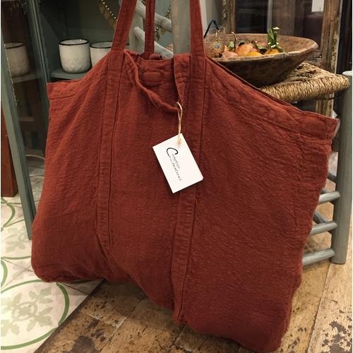 Grand et très joli sac cabas en lin épais de la marque