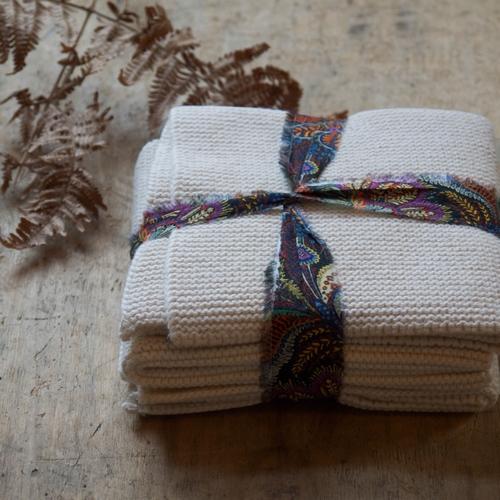 Lot de 3 serviettes/maniques en coton toutes douces. Pour
