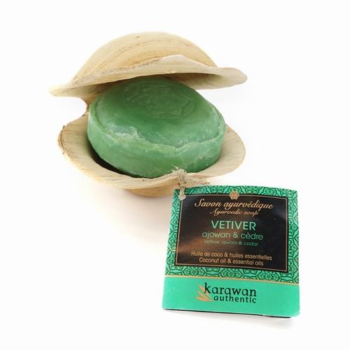 Savon ayurvédique Vétiver Tonifiant - 100g Huile de noix