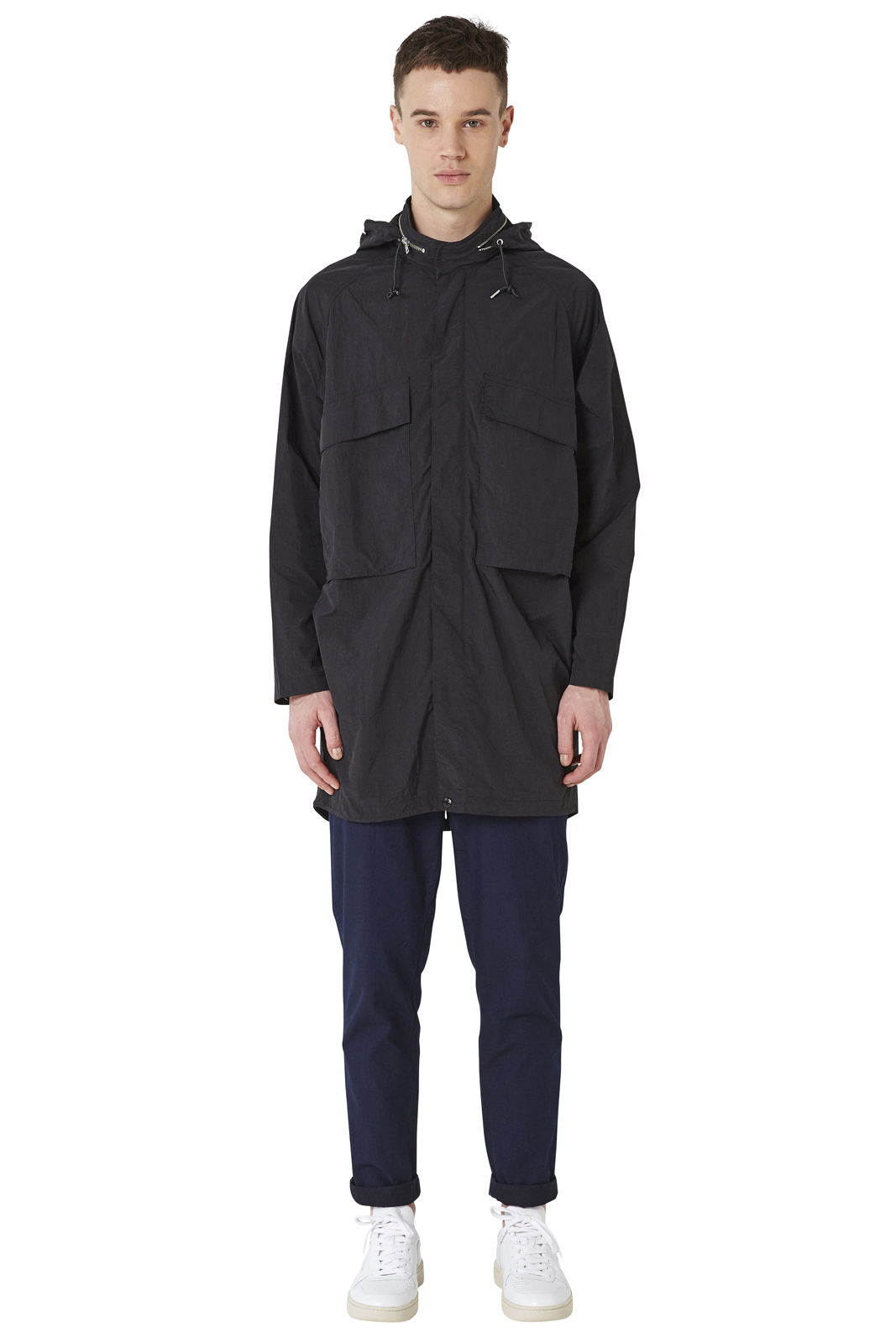 - Long and oversized crumpred nylon parka - Water-repellant