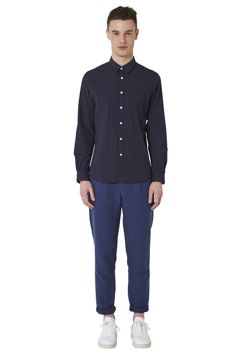 - Cotton and Seersucker effect shirt - Slightly fitted -