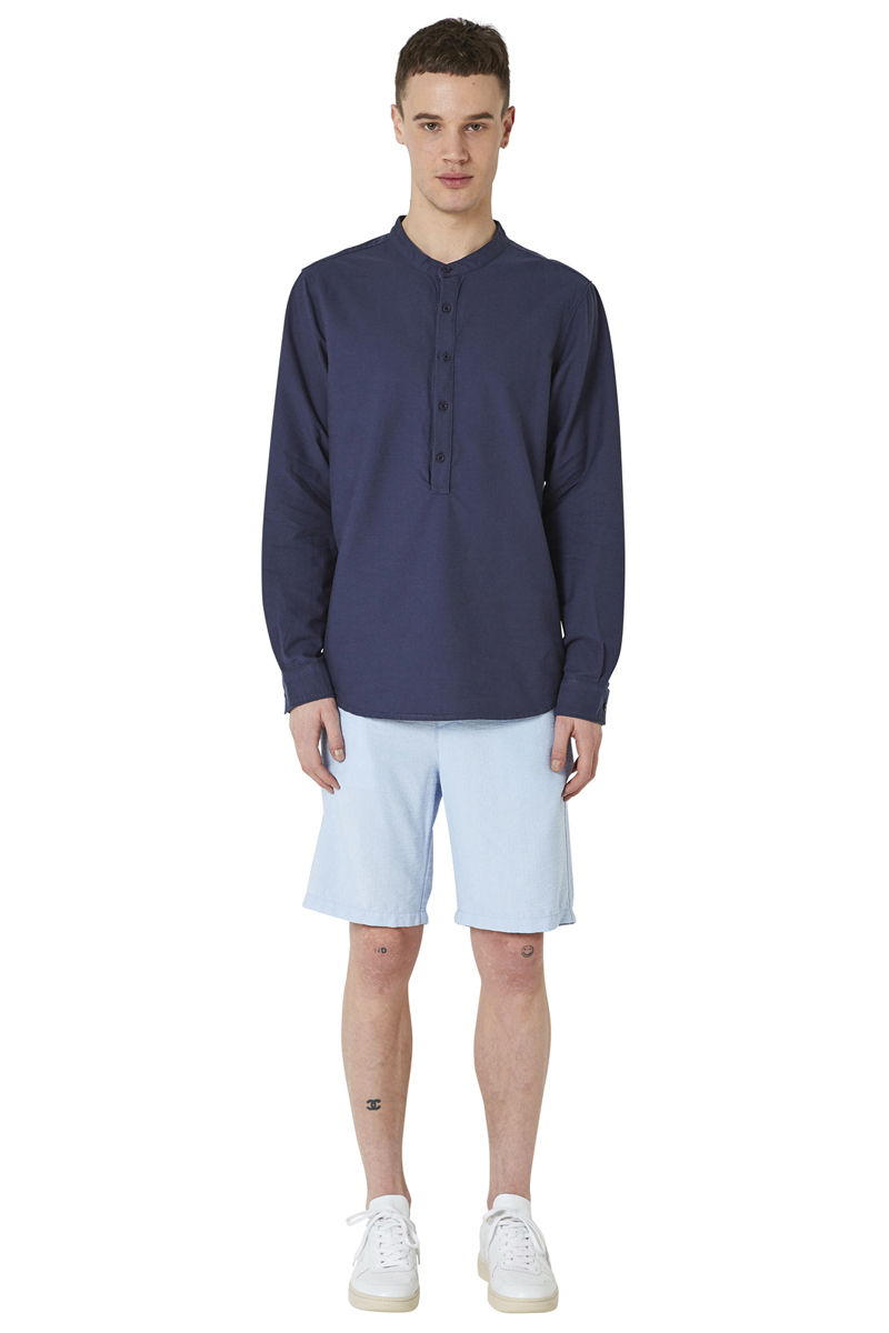 - Oxford cotton tunic - Straight fit - Stand-up collar