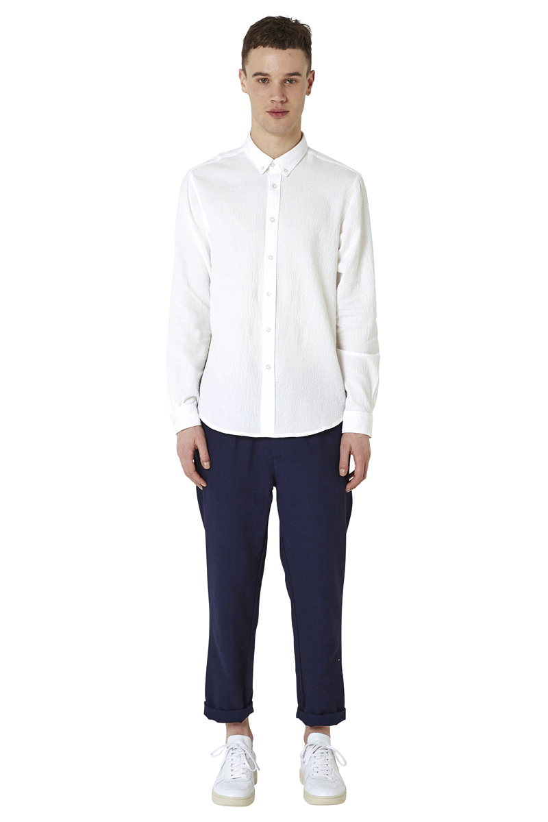 - Cotton shirt with a waffle effect - Slightly fitted -
