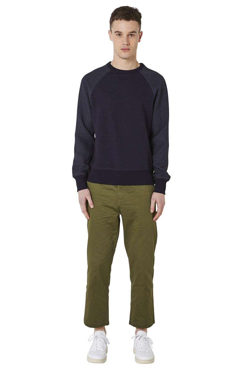 - Bi-material polyester and cotton raglan sweatshirt - Round