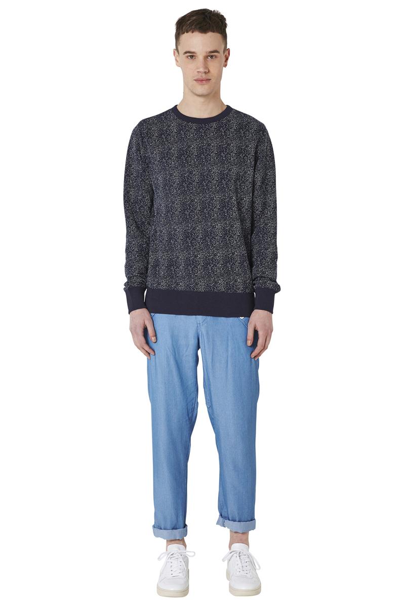 - Polka dots sweatshirt - Round collar and flatlock -