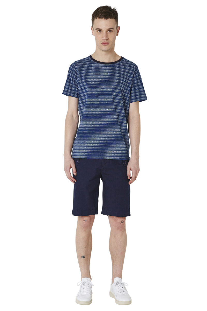 - Indigo dyed T-Shirt - Jacquard pattern - Round collar