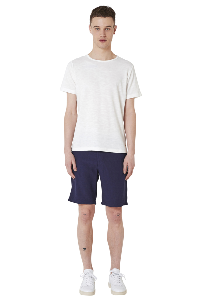 - Cotton jersey French Terry T-Shirt - Round collar and