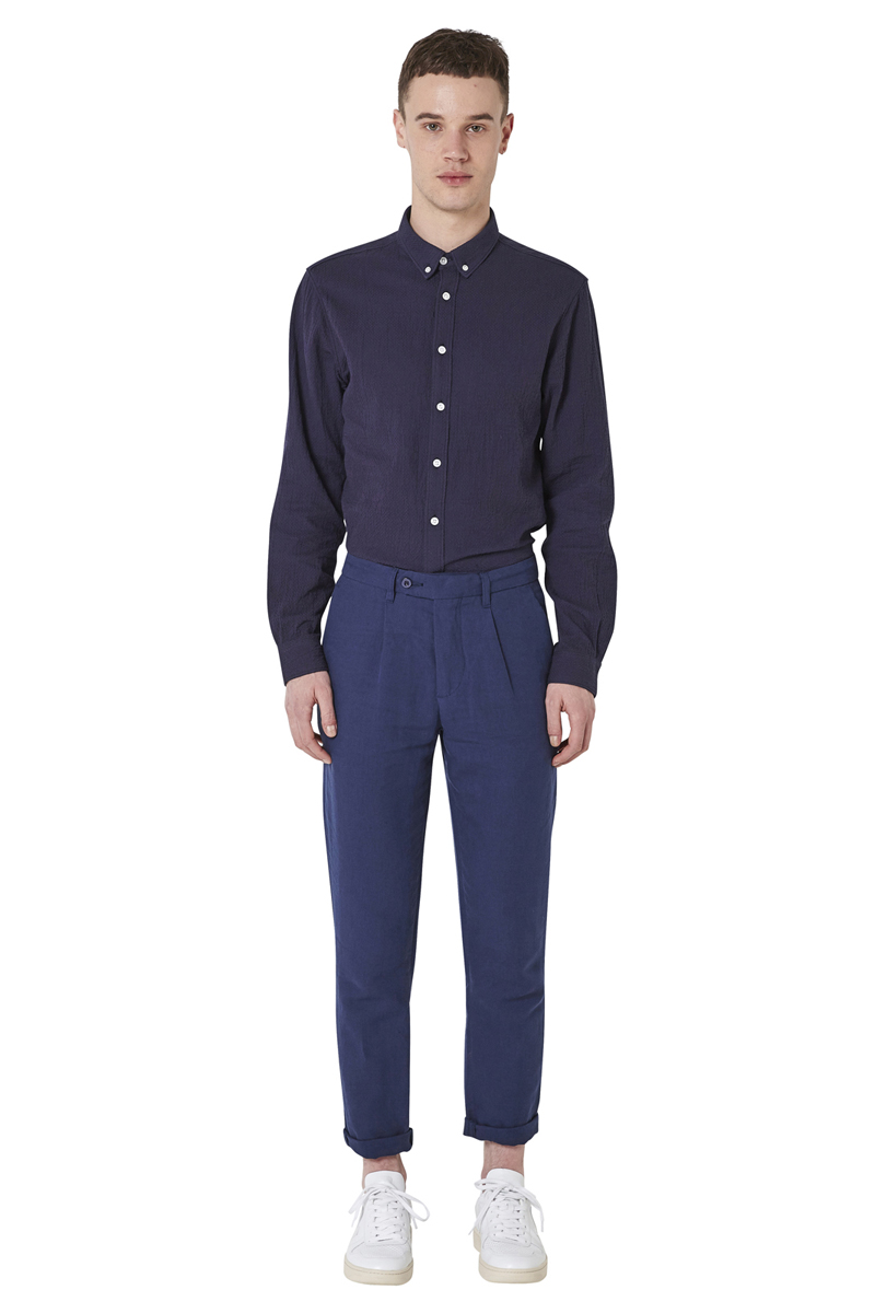 - Bi-material linen cotton darted trouser - Straight fit - 4