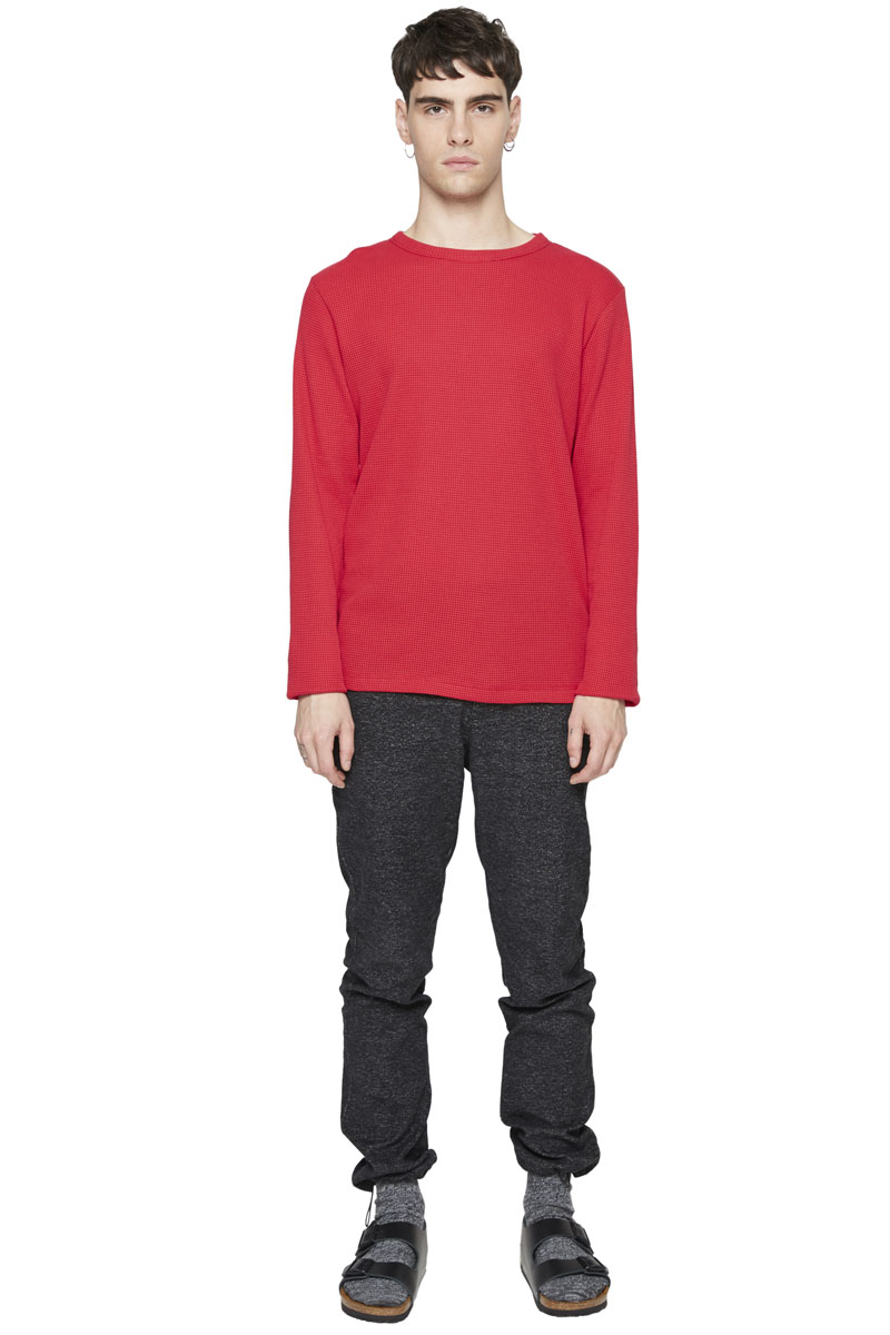 - Long sleeves T-Shirt - Crew neck - Loose fit - Honeycomb
