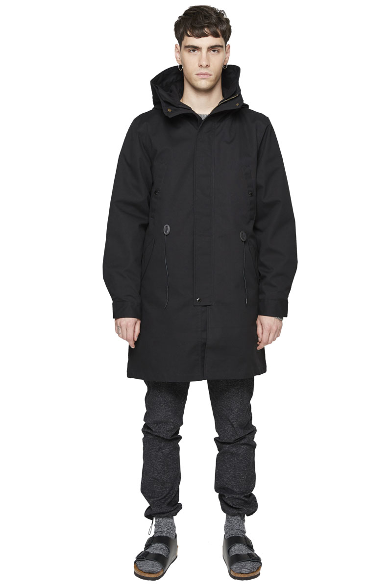 - Cotton laminated military parka - Waterproof - Multiple