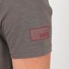 T-shirt manches courtes, col V, en jersey coton slubbé. Bord
