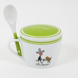 Bol à soupe, accompagné d'une cuillère. <br> Hauteur: