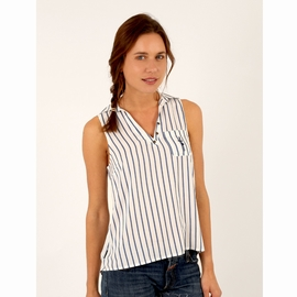 Blouse sans manches en viscose.Col chemisier. Encolure