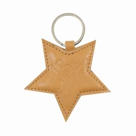 Porte clé en simili cuir. Hauteur: 10cm.