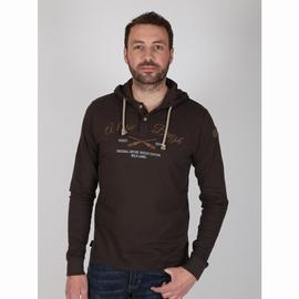 T-shirt manches longues à capuche en jersey coton slubbé.