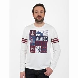 T-shirt manches longues en jersey coton slubbé. Col arrondi,