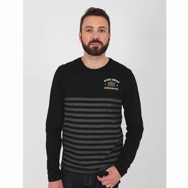 T-shirt manches longues en jersey coton slubbé. Bord côte à