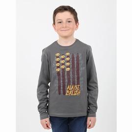 T-shirt manches longues en jersey coton. Encolure bordée