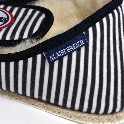 Charentaises coton, intérieur 100% laine. Bande tissée bleu,