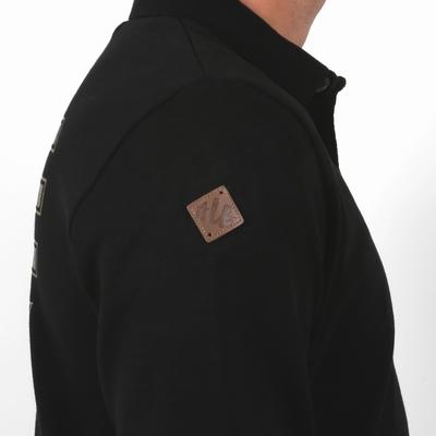 Polo manches longues en jersey coton.. Patte de boutonnage