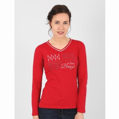 T-shirt manches longues en jersey coton slubbé. Encolure en