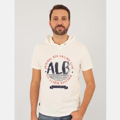 T-shirt manches courtes à capuche, en jersey coton slubbé.