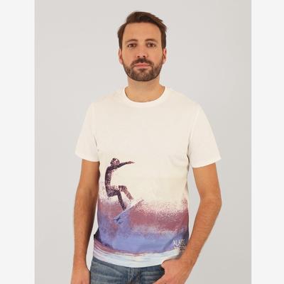 T-shirt manches courtes en jersey coton slubbé. Bord côte au