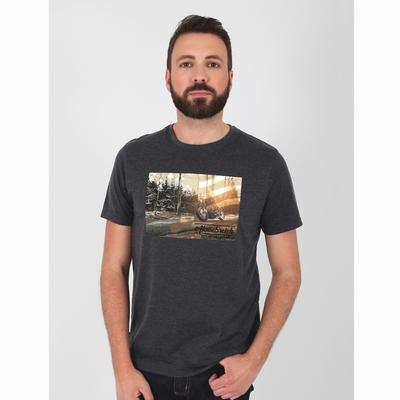 T-shirt manches courtes en jersey coton slubbé. Bord côte à