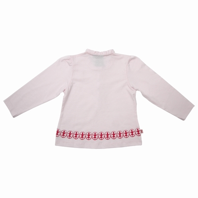 T-shirt manches longues en jersey coton. Volants à