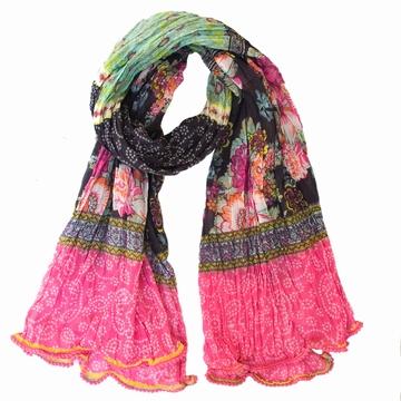 Foulard/Paréo en voile de coton froissé aux motifs