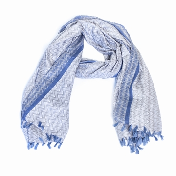 Foulard/Paréo en coton léger aux motifs stylisés zig-zag .