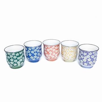 Set 5 Tasses Fleurs Colorees Sensitive et Fils