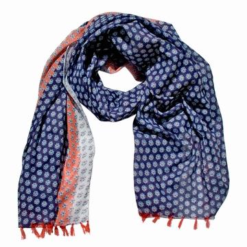 Foulard/Paréo en coton léger aux motifs fleuris et