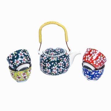 Set Theiere Et Tasses Fleuries Sensitive et Fils