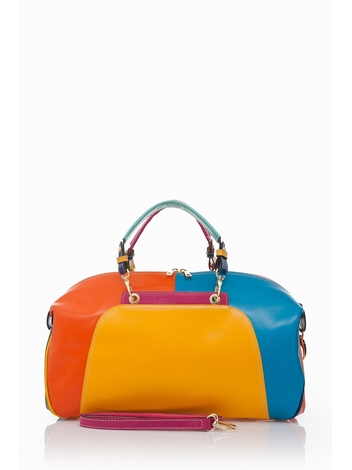 Muticolor Tote Bag . Top zip fastening. Twin Handles