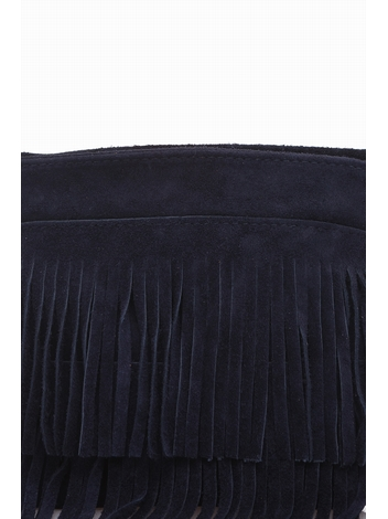 Suede Cross Body Bag.Suede outer with decorative frills. Top