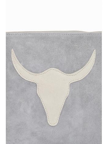 Suede Clutch Bag.Suede outer Adjustable body strap.Top zip