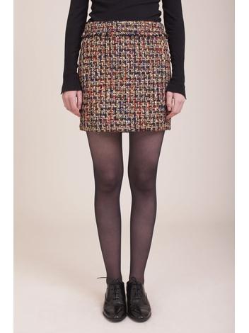 - Jupe courte en tweed multicolor et lurex - Fermeture zip