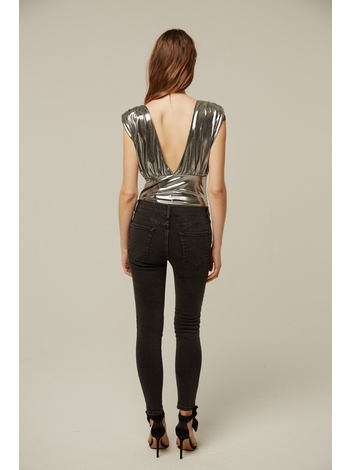 - jean skinni gris foncé en coton stretch avec en strasses