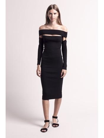 - Robe mi-longue épaules nues en maille - Cette robe se
