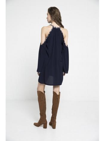 - Robe courte épaules dénudées - ornée de perles